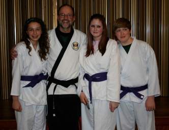 Sensei McGee with new Purple Belts - March 2010